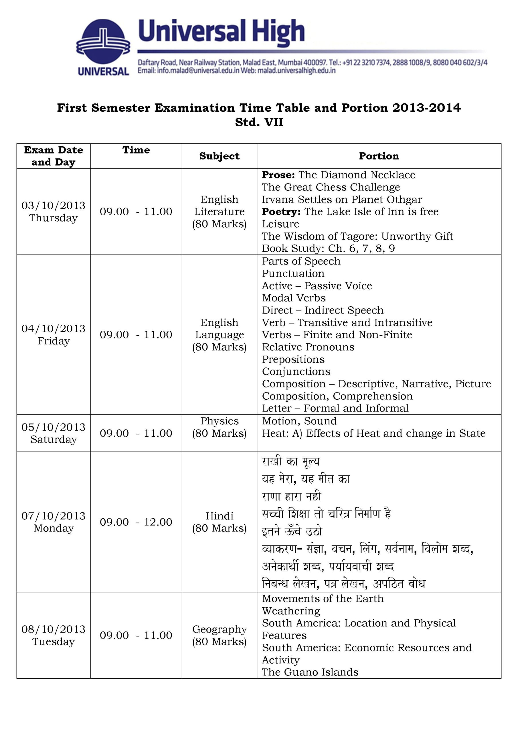 ... . VII – First Semester Examination Time Table and Portion 2013-2014