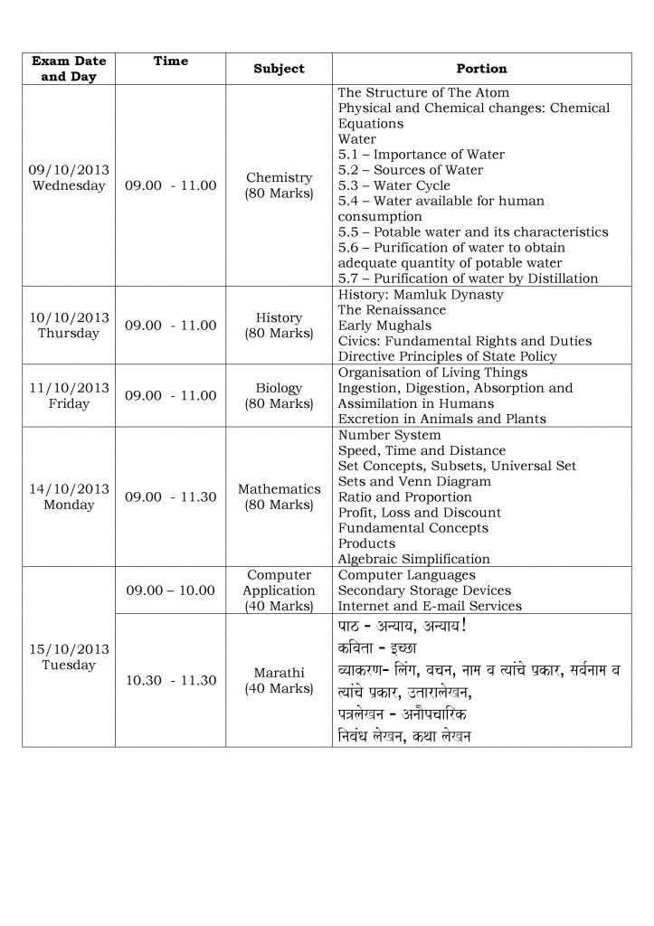First Semester Examination Time Table and Portion 2013-2014 - VII(1)
