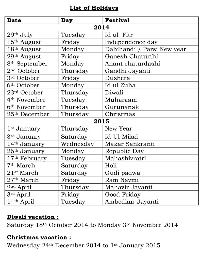 PRE-PRIMARY - PRIMARY - SECONDARY - LIST OF HOLIDAYS - AY-2014-15