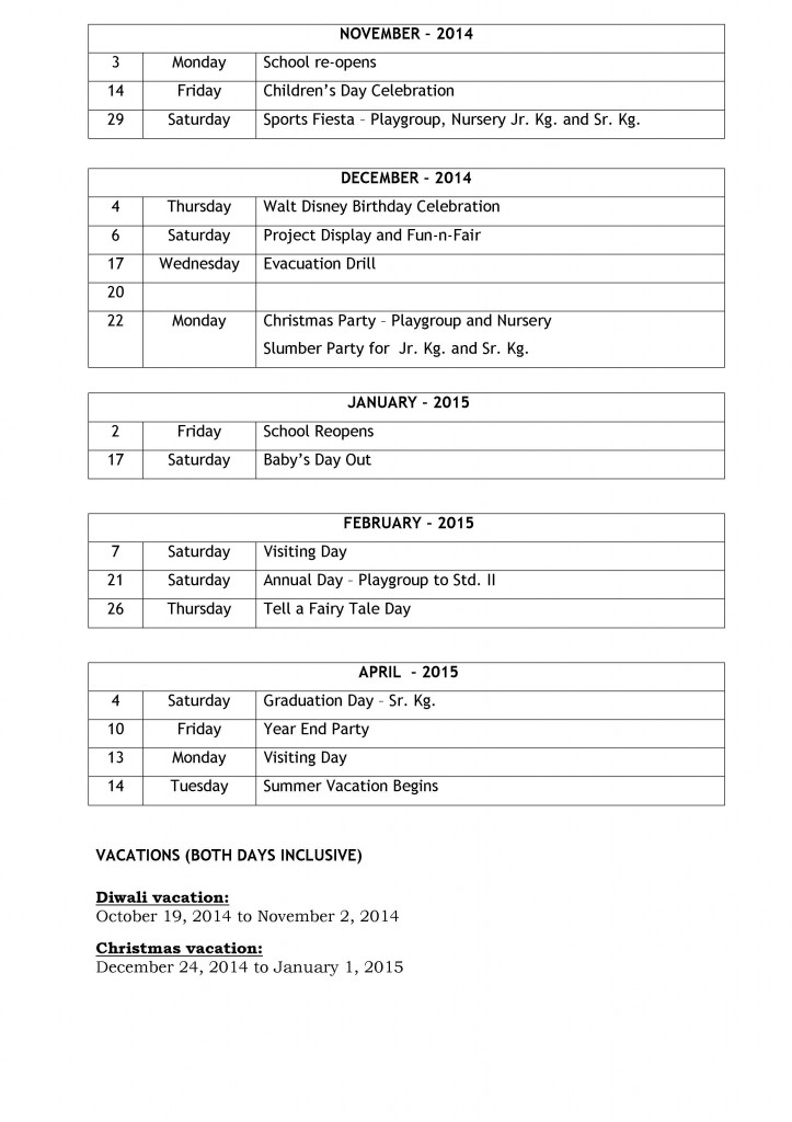PRE-PRIMARY SECTION - EVENTS - 2014-15 (PG 2)
