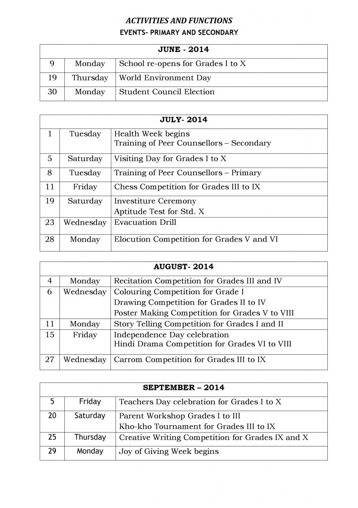 Special Days and Events - Primary and Secondary - 2014-15(pg 1)