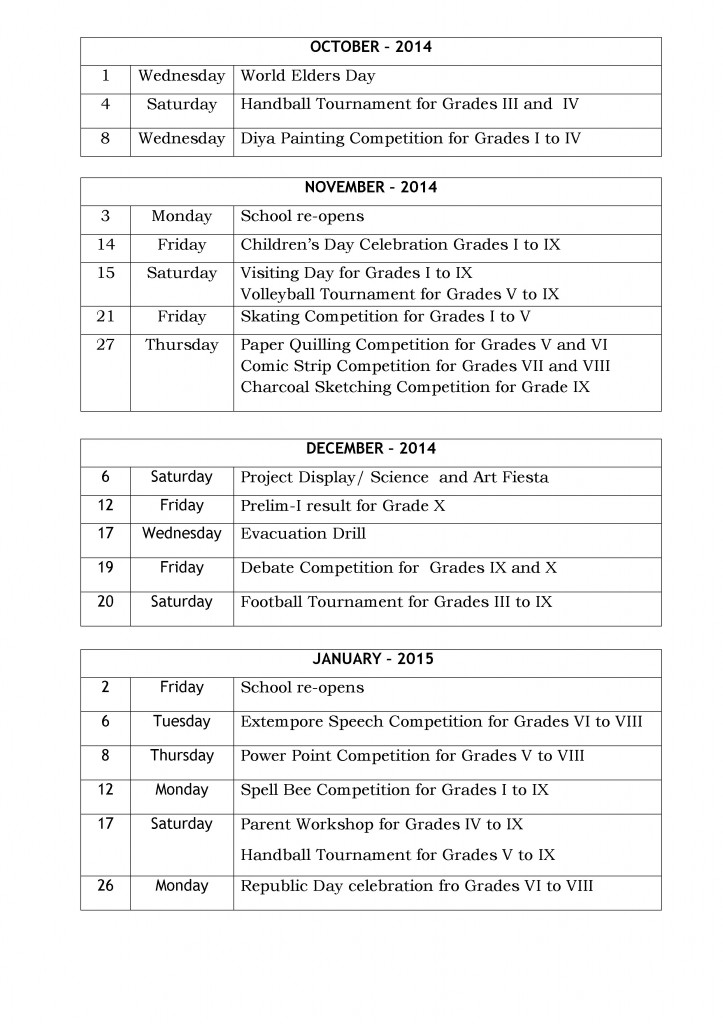 Special Days and Events - Primary and Secondary - 2014-15(pg 2)
