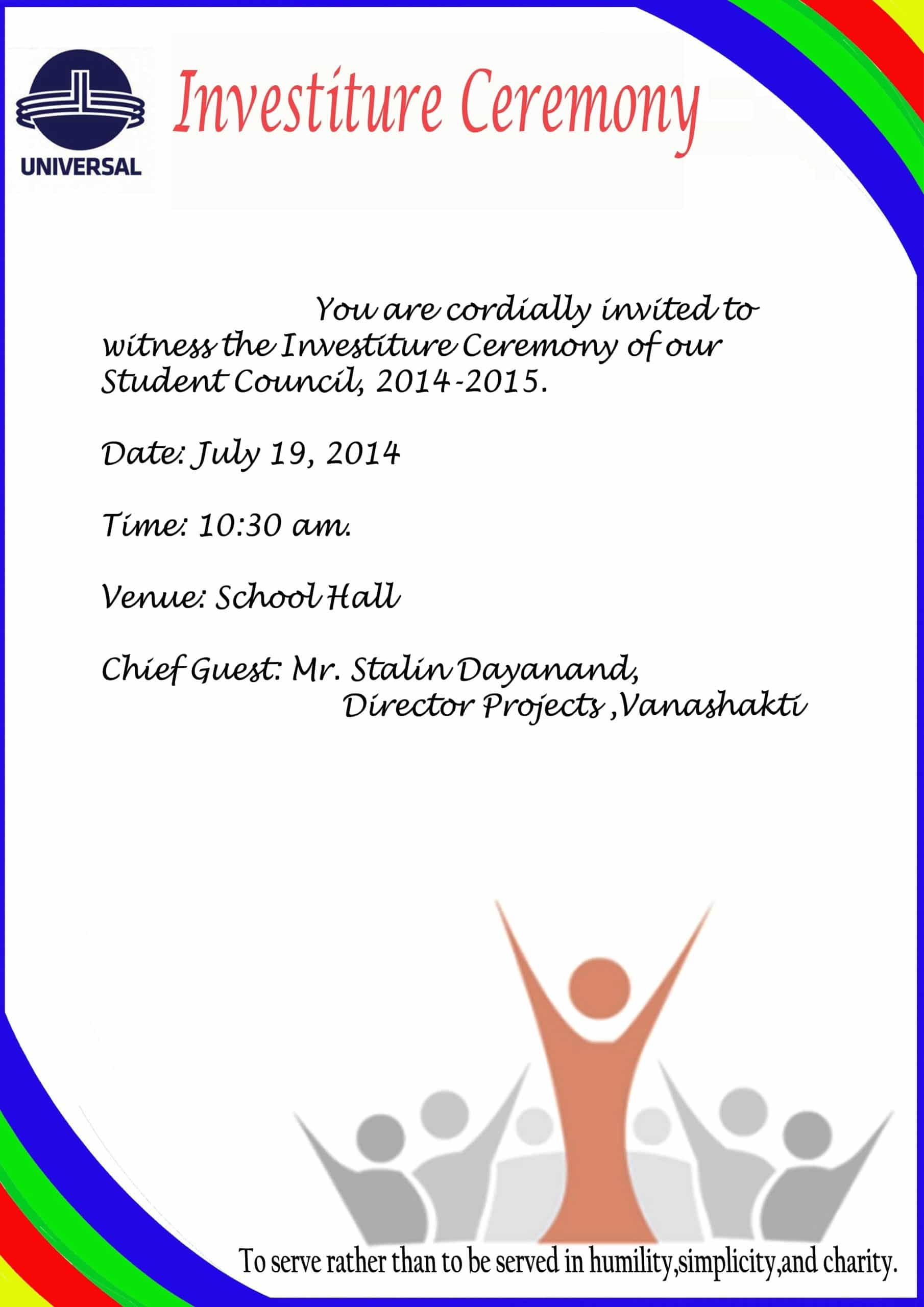 Invitation for investiture ceremony universal high malad investitrure ceremony stopboris Image collections