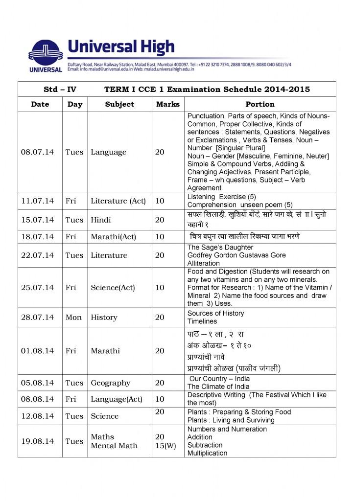 Grade - IV   CCE  2014-15 Term I