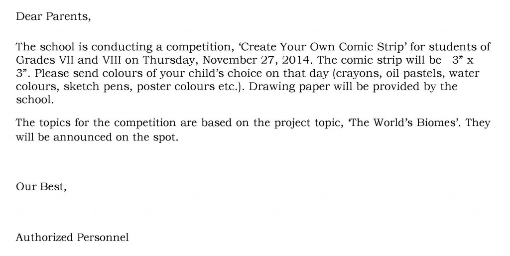 [34] Circular - Comic Strip Competition - Grades - VII and VIII