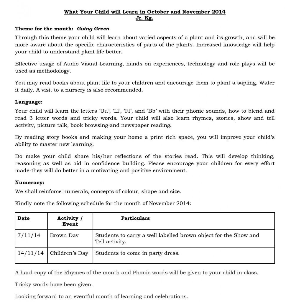 JR KG - Synopsis - October  and November 2014
