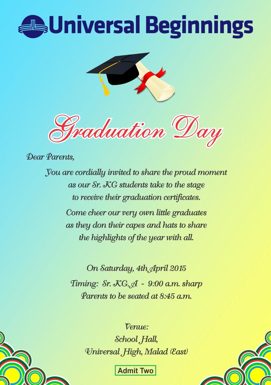 Sr. Kg. A – Invitation for Graduation Day. | Universal High, Malad