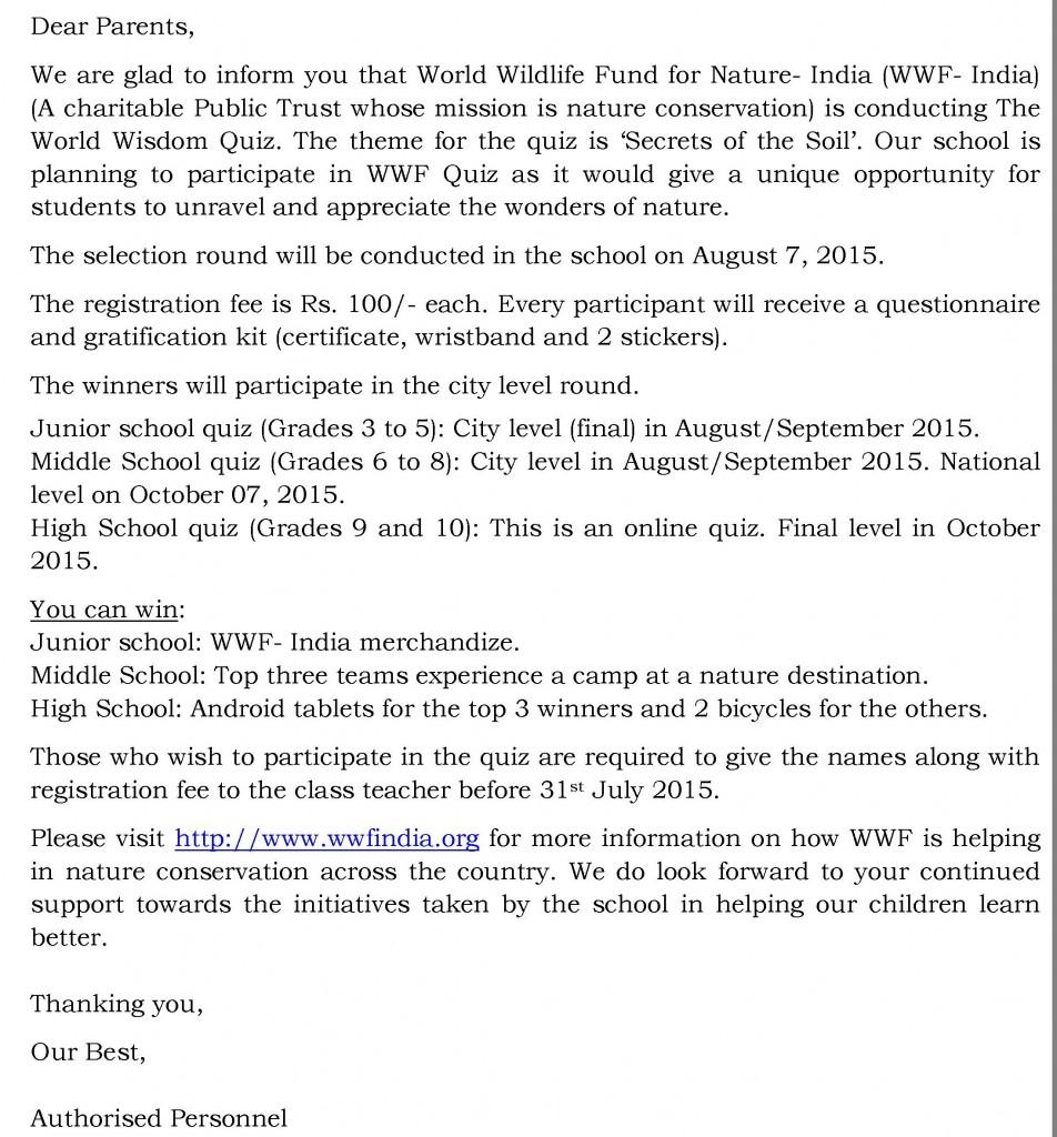 [14] Circular - Indias National Wild life quize