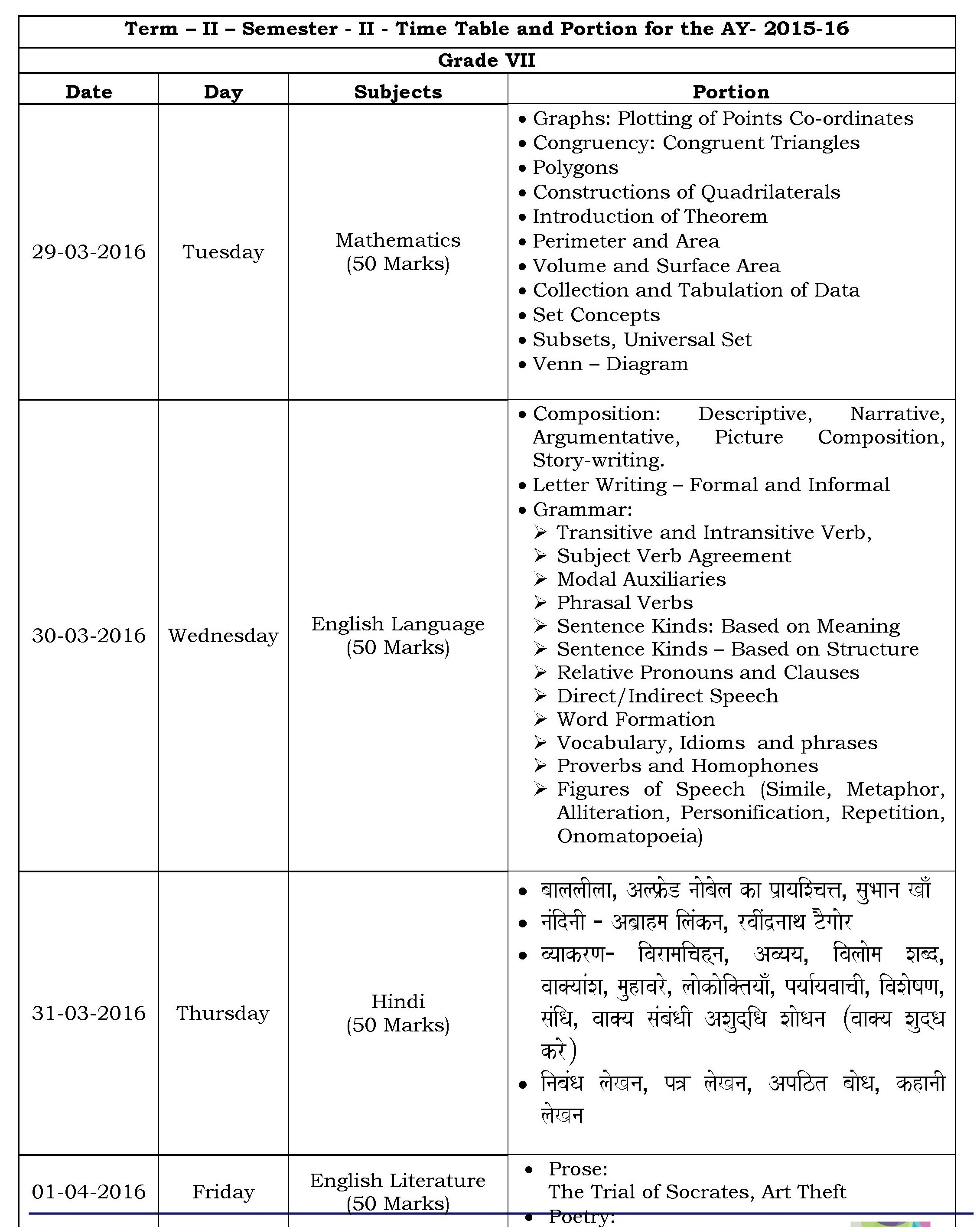 Grade vii term ii semester ii time table and portion for 2015 16 31 mar pooptronica Images