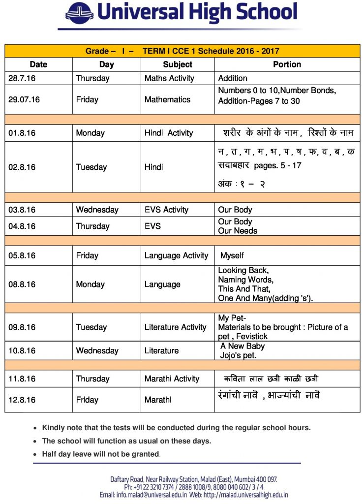grade i term 1 cce-1 syllabus 2016-17