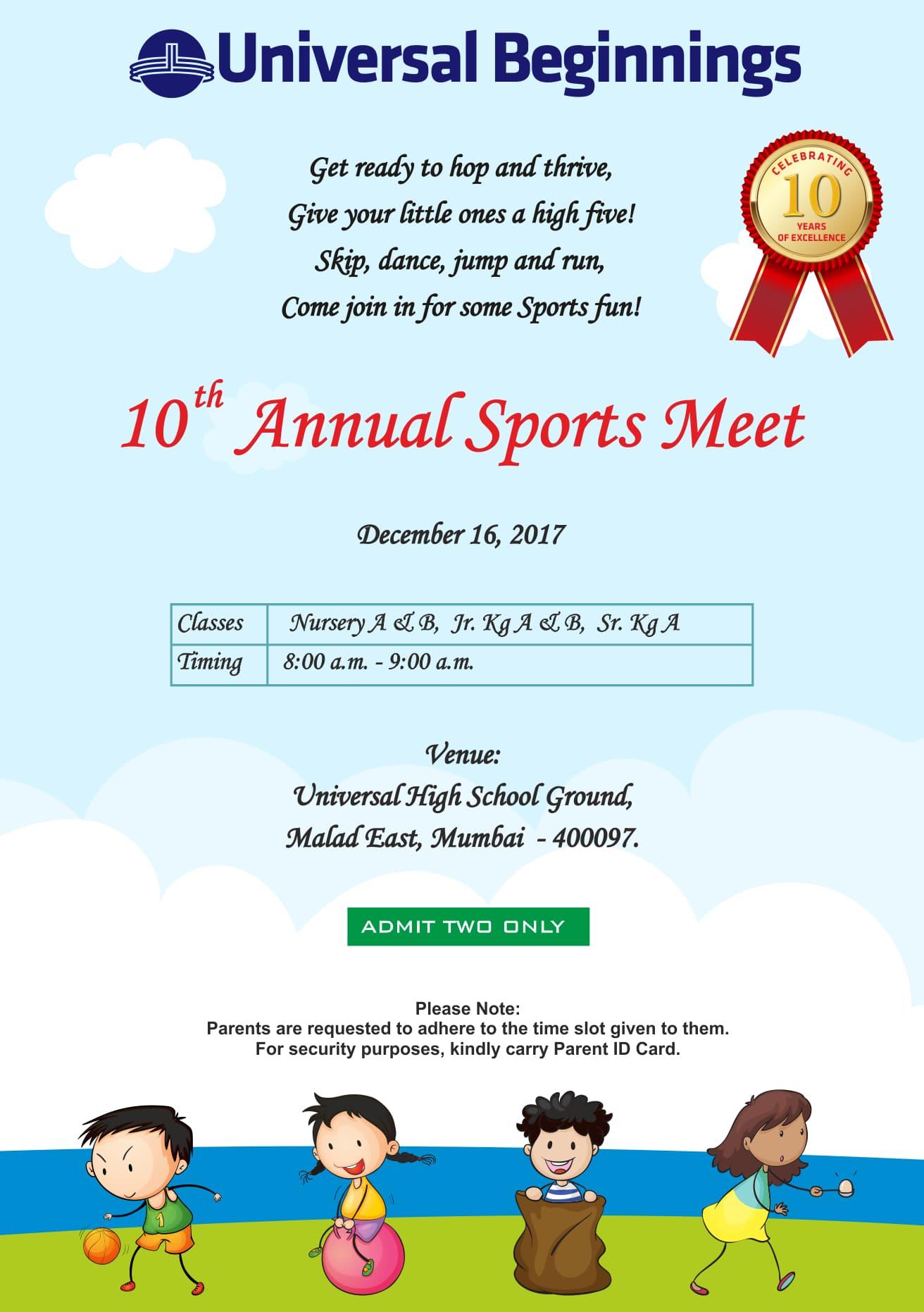 Pre Primary Sports Day E Invite 2017 18 Universal High Malad