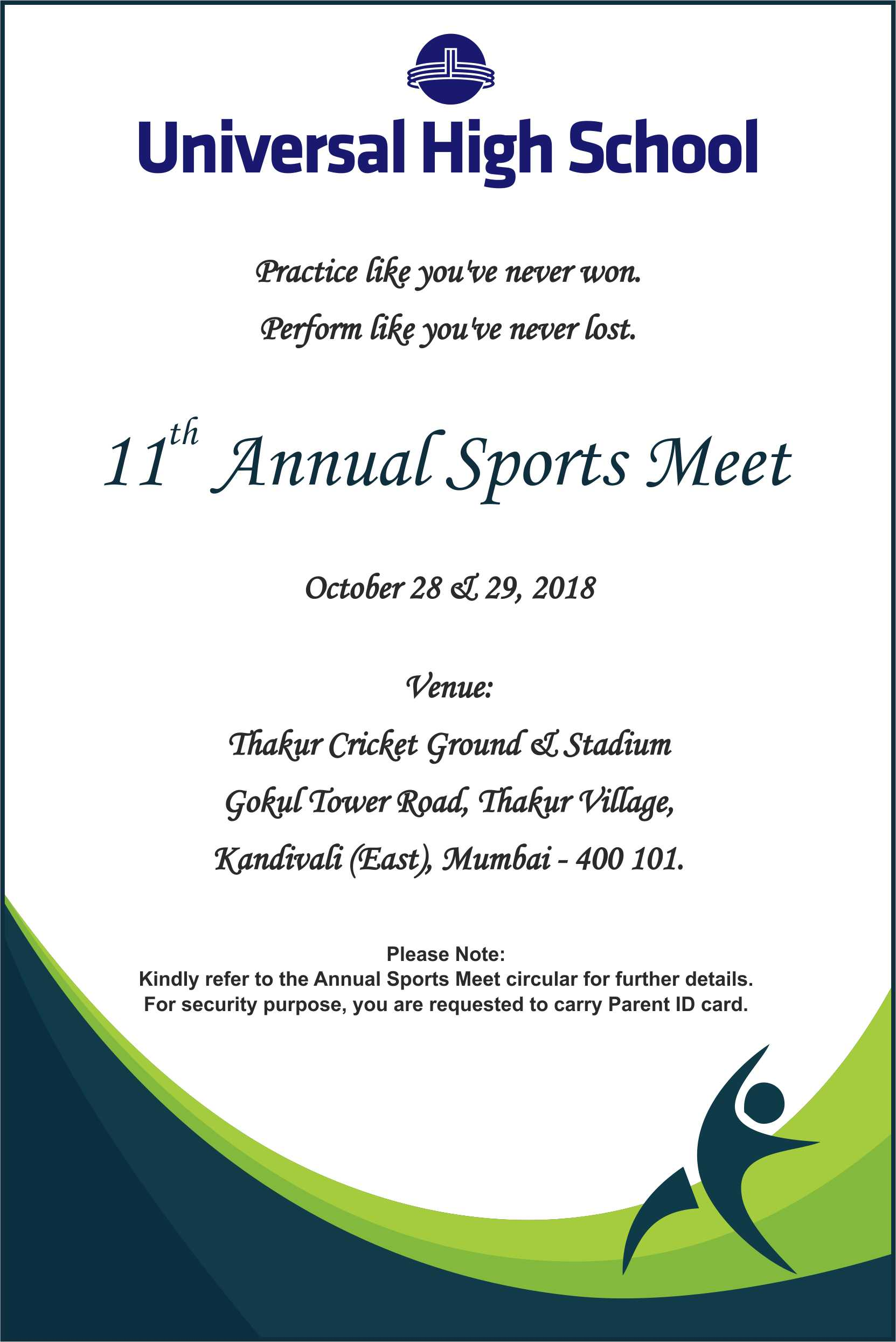 Invite For Annual Sports Day 2018 19 Universal High Malad