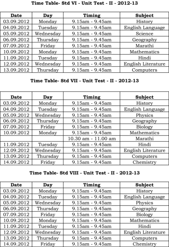 Universal High, Secondary – Unit Test II Time Table (Stds. VI – VIII)