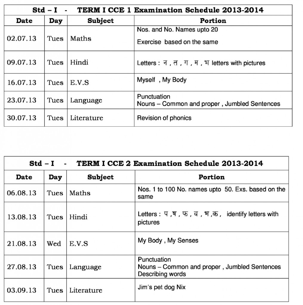 Universal High – CCE-1: Term I – Examination Schedule-2013-14 for Std. I