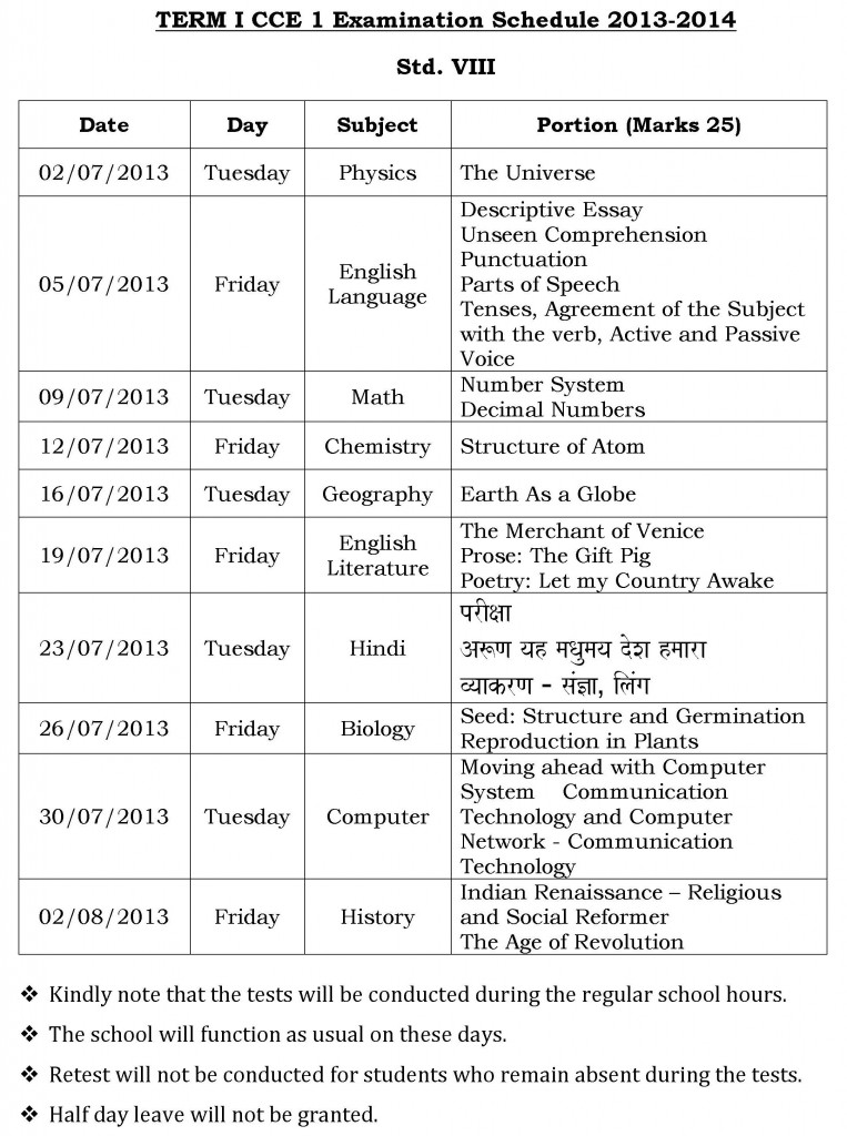 Universal High: CCE-1 – Examination Schedule for Std. VIII