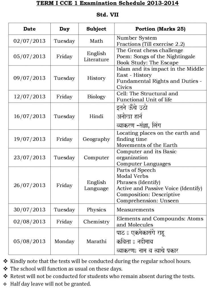 Universal High: CCE-1 – Examination Schedule for Std. VII