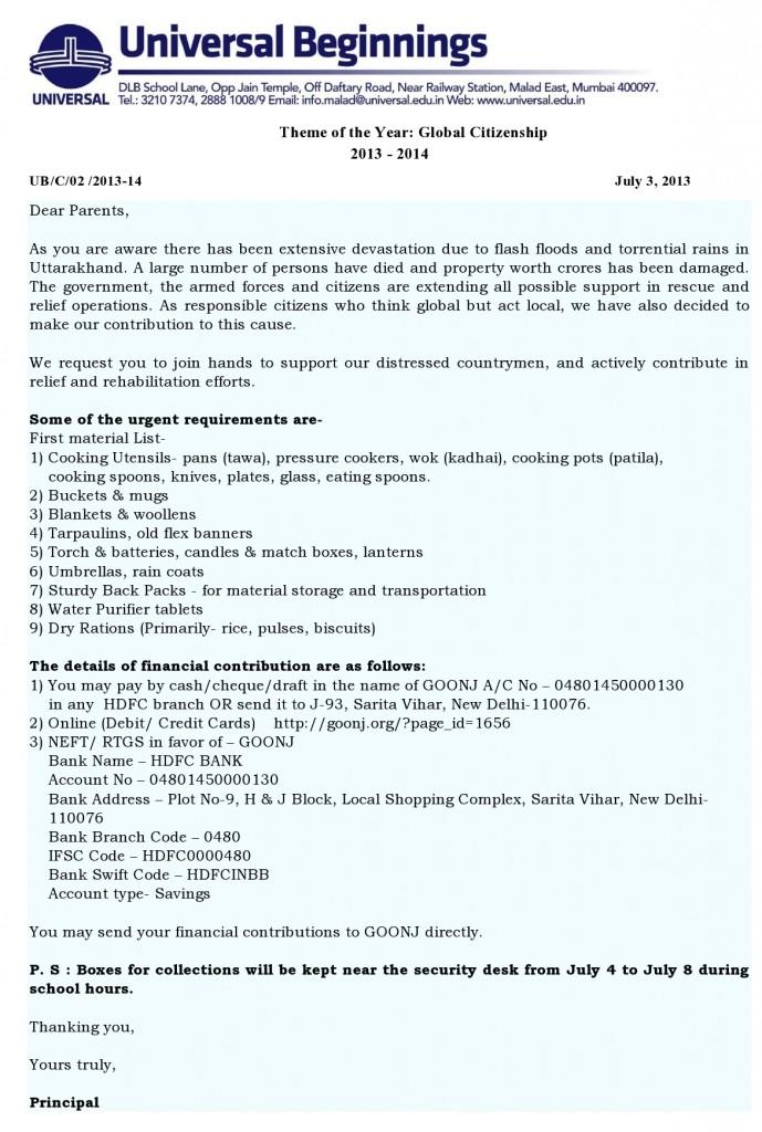 Universal Beginnings: Uttarakhand Relief Efforts.