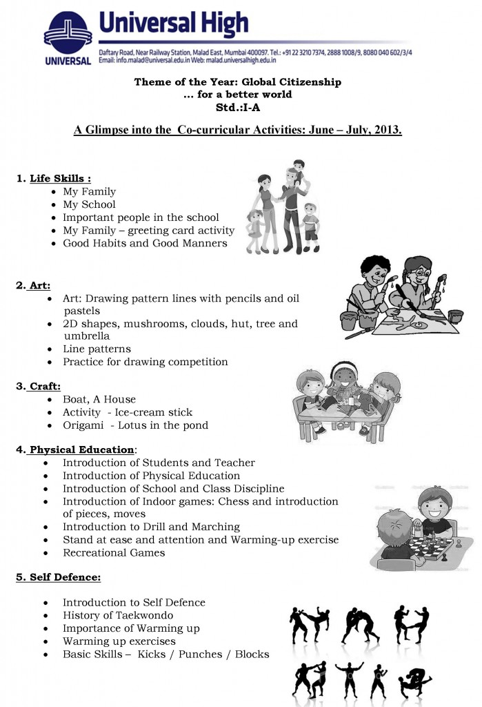 Std. I A – A Glimpse into the  Co-curricular Activities: June – July, 2013.