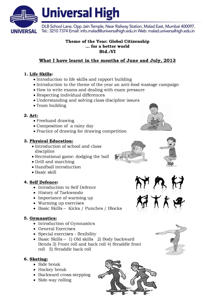 Std. VI – A Glimpse into the  Co-curricular Activities: June – July, 2013.