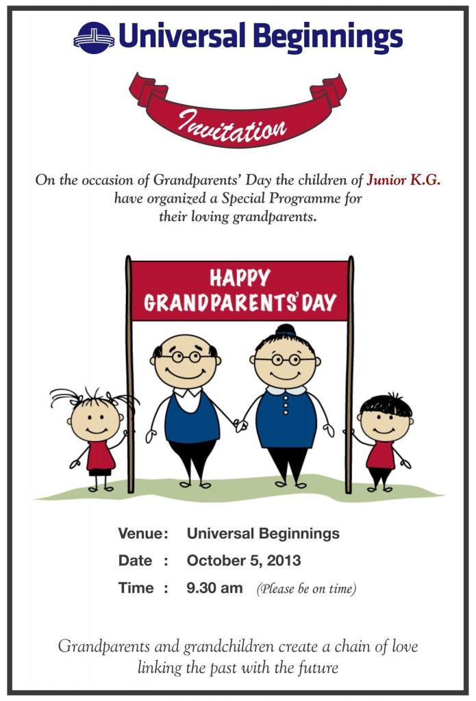 Jr. Kg.: 'Grandparents Day' invitation card