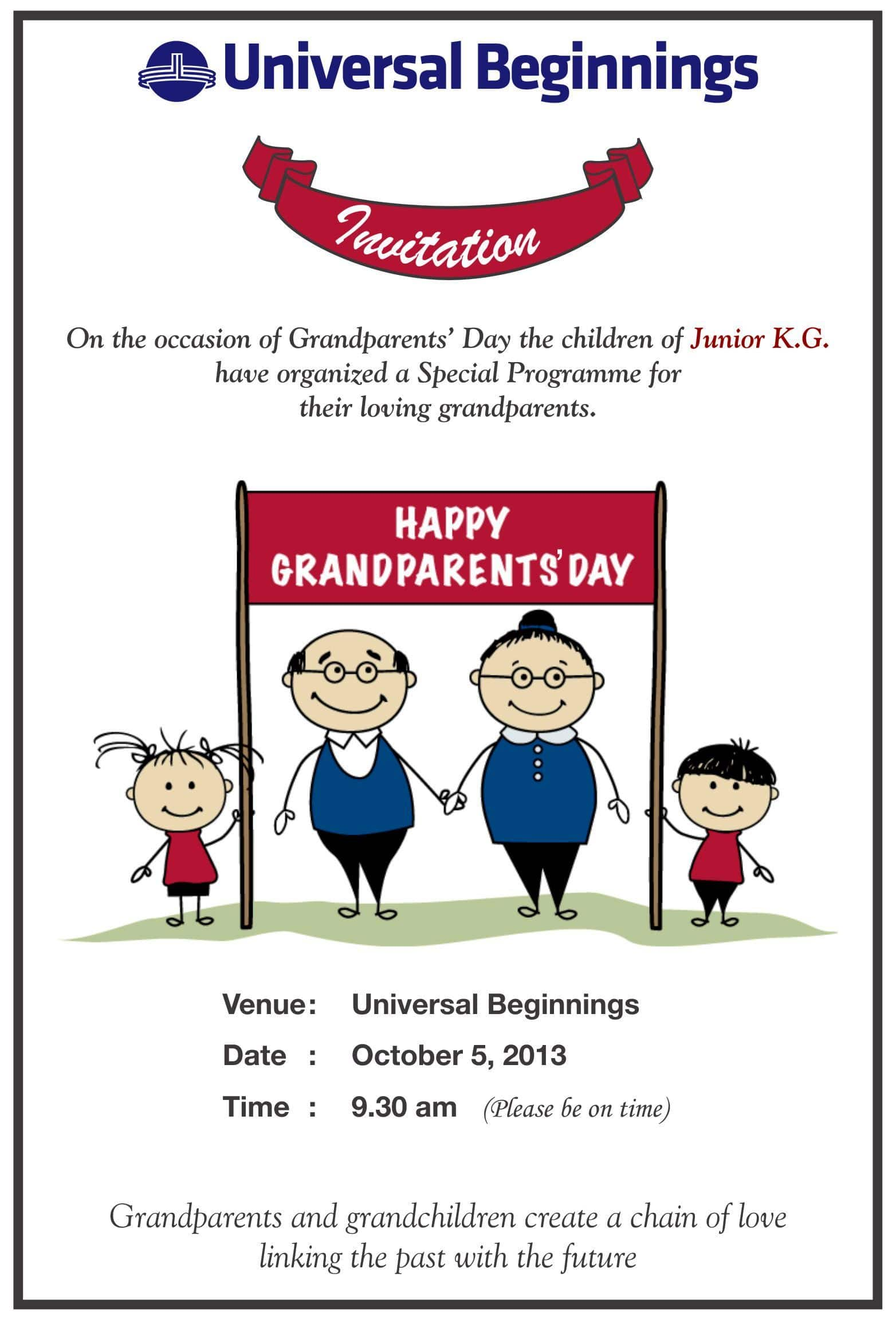 jr  kg    u2018grandparents day u2019 invitation card
