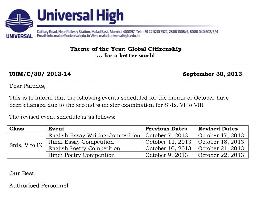 Schedule for the month of October