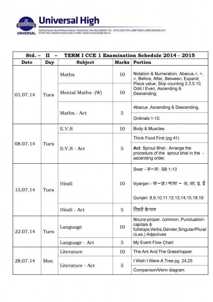 Grade II – Term I CCE Examination Schedule 201-2015.