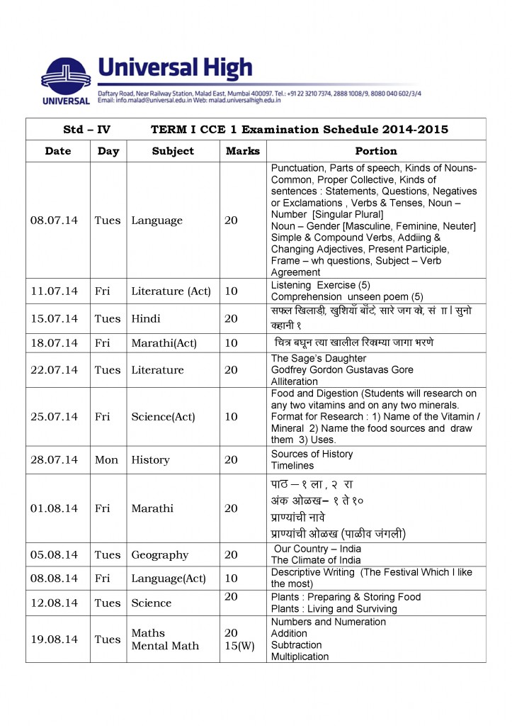 Grade IV – Term I – CCE Examination Schedule 2014-2015.