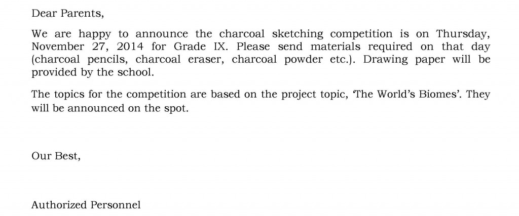 UHM/C/33 – Circular for Charcoal Sketching Competition – Grade IX.