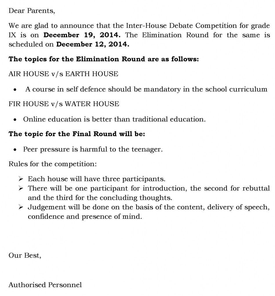(39) Circular for Inter-house Debate Competition