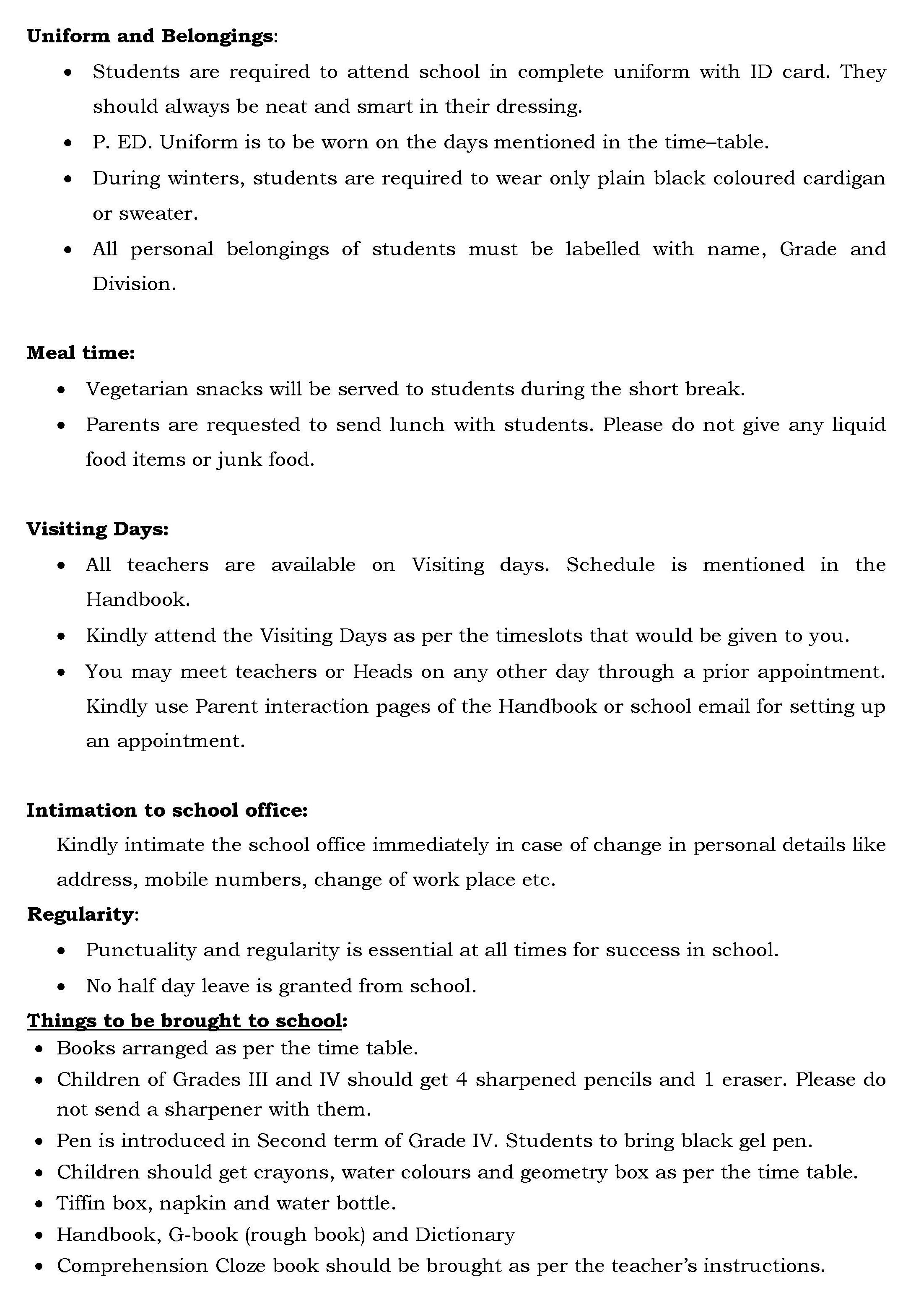 Grades III, IV and V – Orientation letter  | Universal High