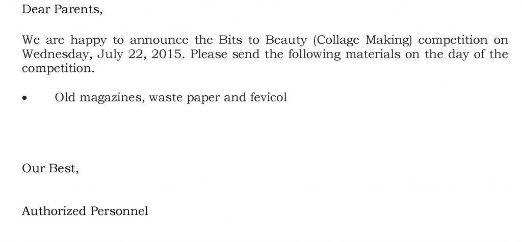 Grades I and II – Circular For Bits to Beauty (Collage Making) Competition.