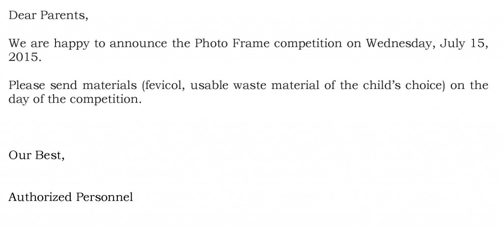 Grades III and IV – Circular For Photo Frame Competition.