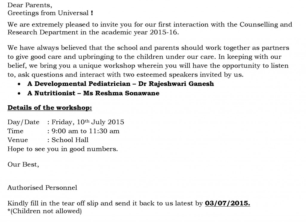 Play Group to Sr. Kg. – Circular for Parent Workshop