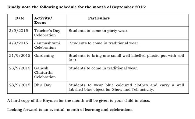 Play Group – Synopsis and schedule for the month of September 2015.