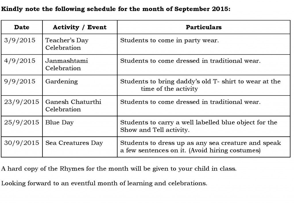 Jr. Kg. – Synopsis and schedule for the month of September 2015.