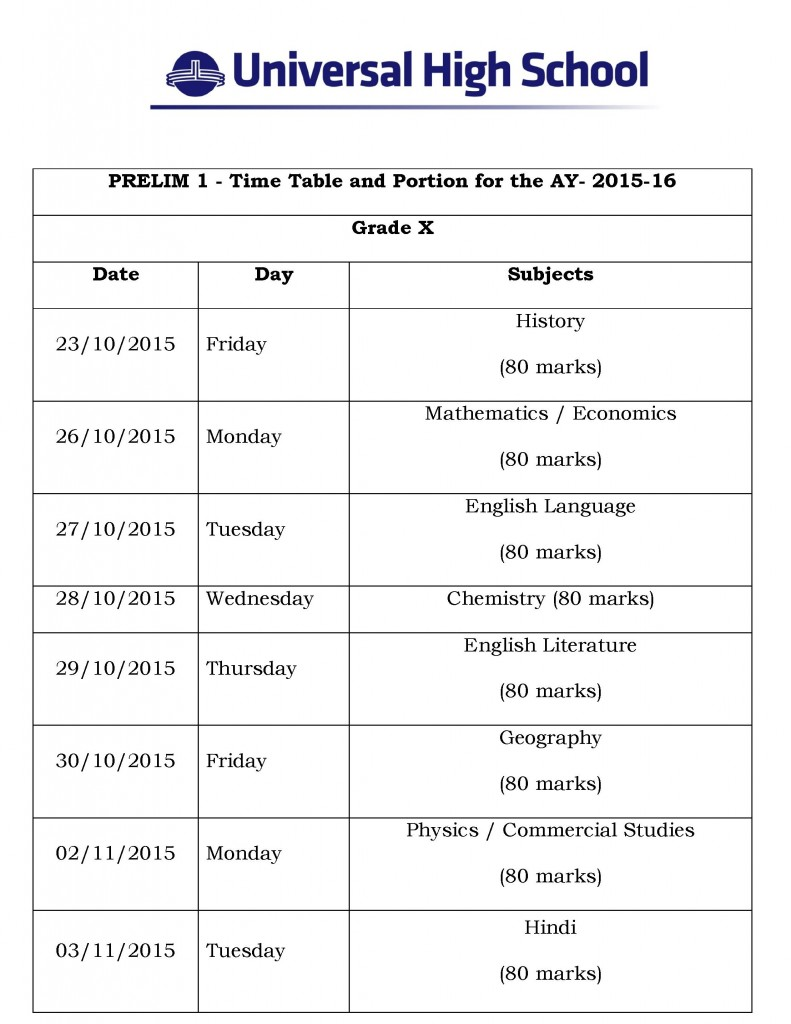 Grade X – Prelim I Time Table and Portion for the AY- 2015-16.