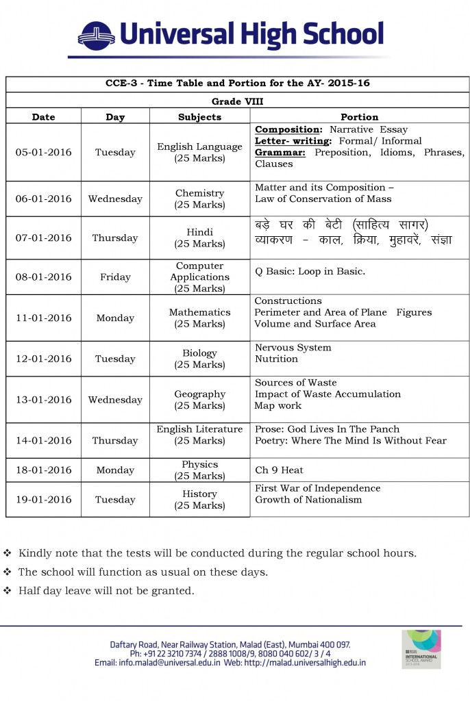 Grade VIII – CCE-3 – Time Table and Portion for the AY- 2015-16.