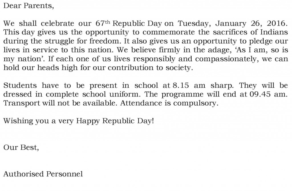 Grades VI to IX – Circular For Republic Day.