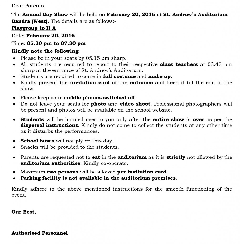 Grades I and II A – Circular for Annual Day.