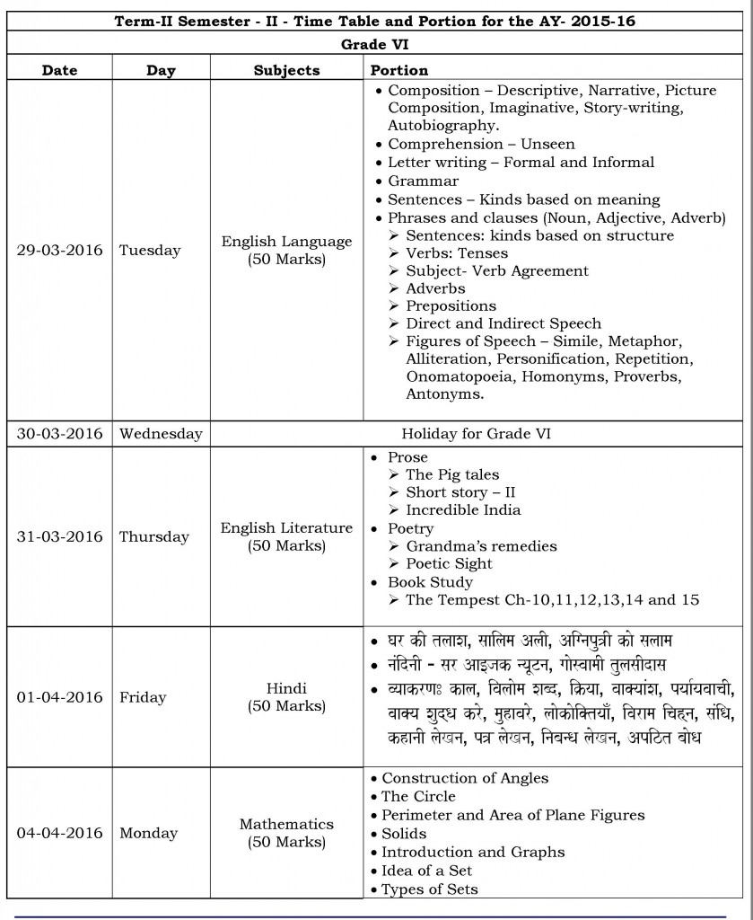 Grade VI – Term II Semester II – Time table and Portion for 2015-16