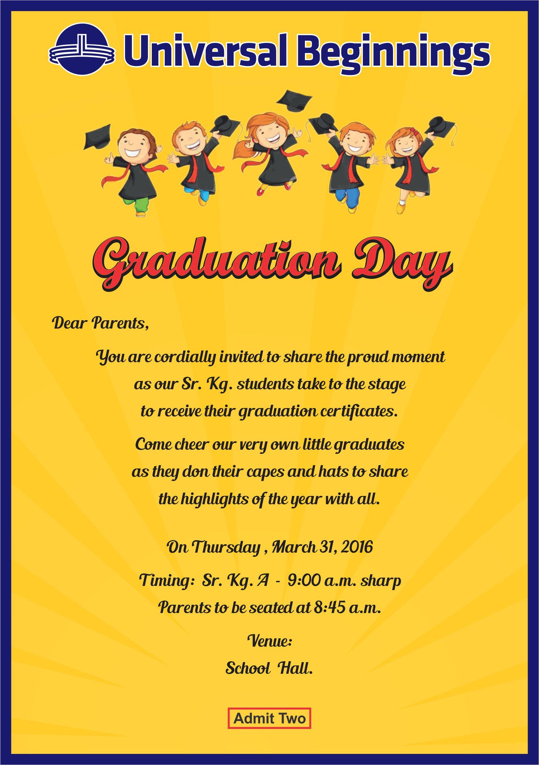 sr kg a  u2013 invitation for graduation day
