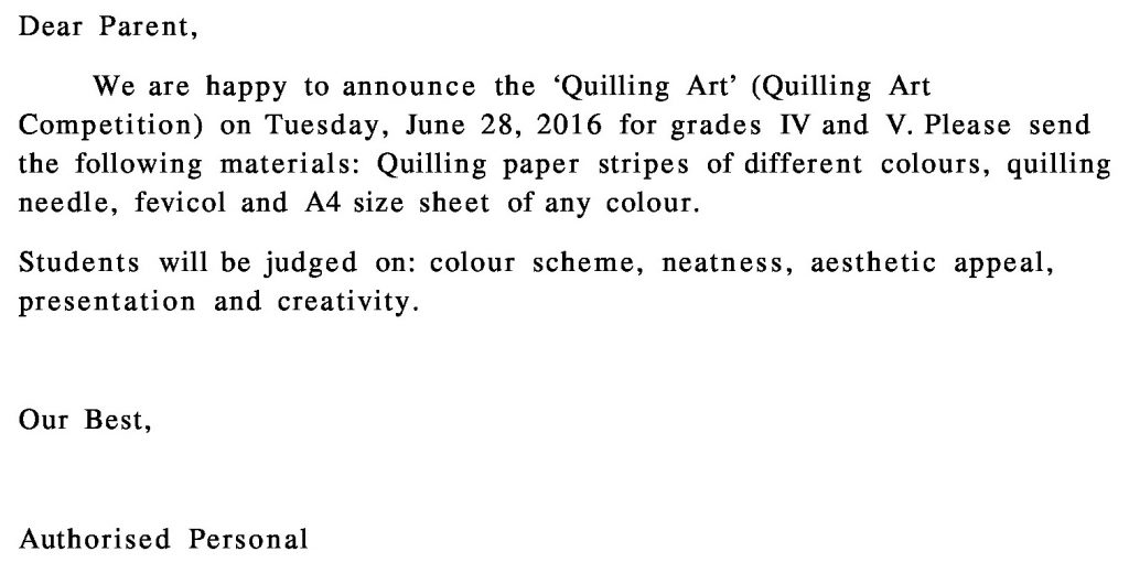 Grades IV – V – Circular for Art Competition.