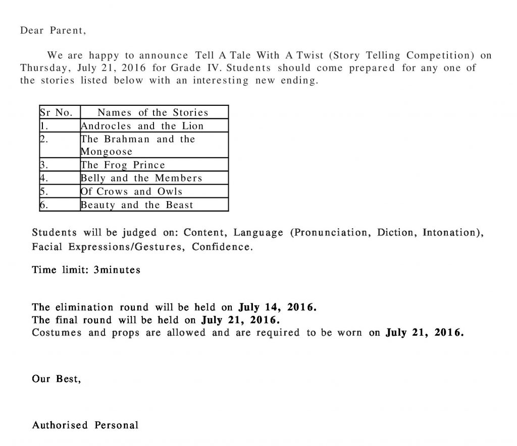 Grades IV Circular – Tell A Tale With A Twist (Story Telling Competition