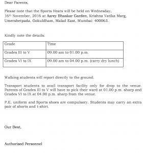 Grades III – IX – Sports Heats