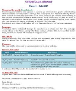 Nursery – Curriculum Insight – July.