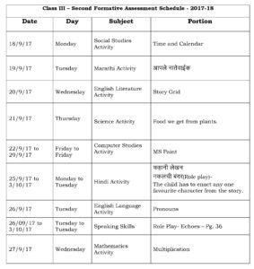 Class III – Second Formative Assessment Schedule – 2017-18.