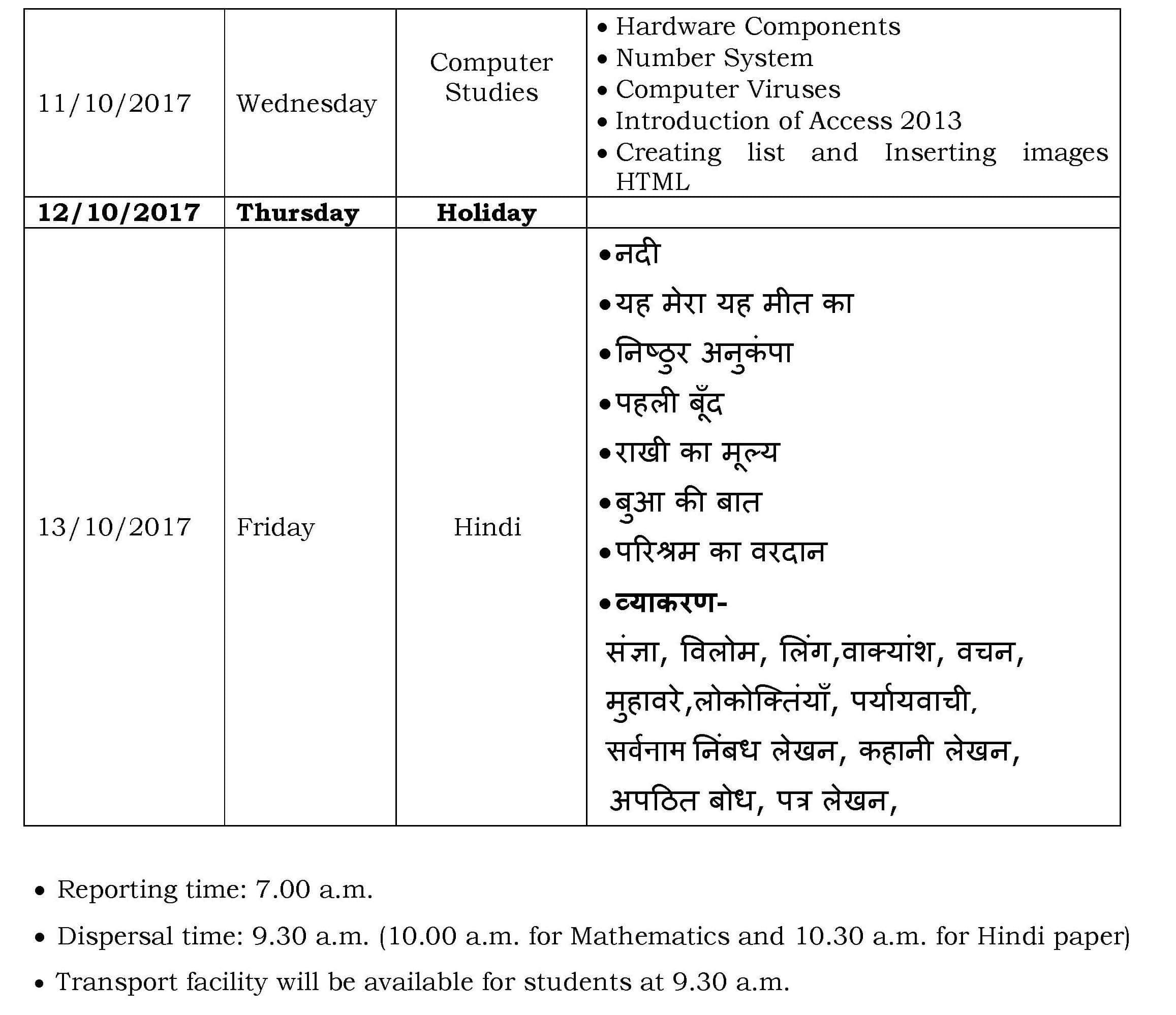 Class VII – Term I Semester – I Schedule 2017-2018