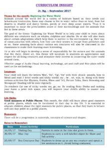 Junior Kg Curriculum Insight September 2017