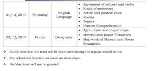 Class VI – Second Formative Assessment Schedule – 2017 – 18.